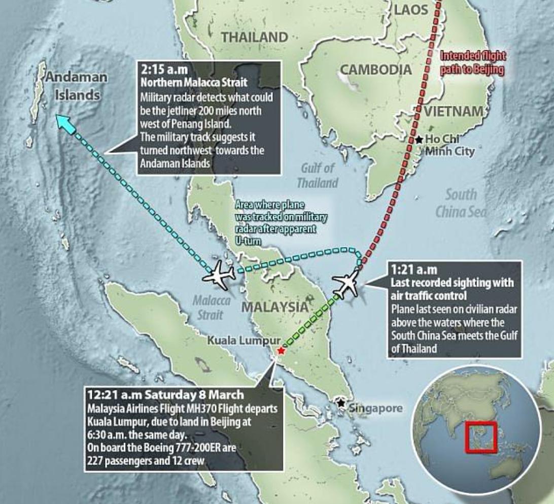 新的研究报告推测马航MH370航班的飞行路线。