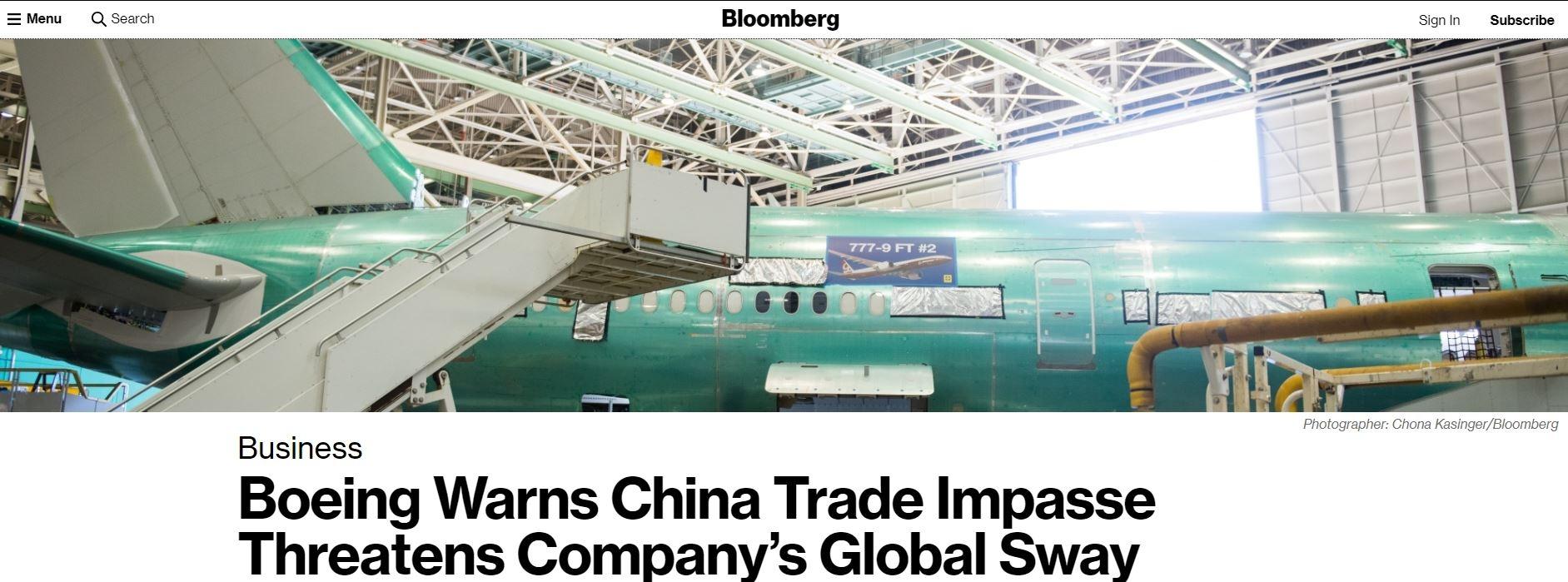 波音CEO:中美贸易僵局将威胁波音全球影响力