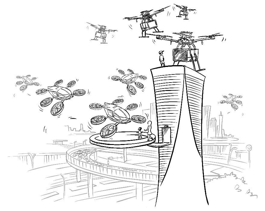 未来城市天空