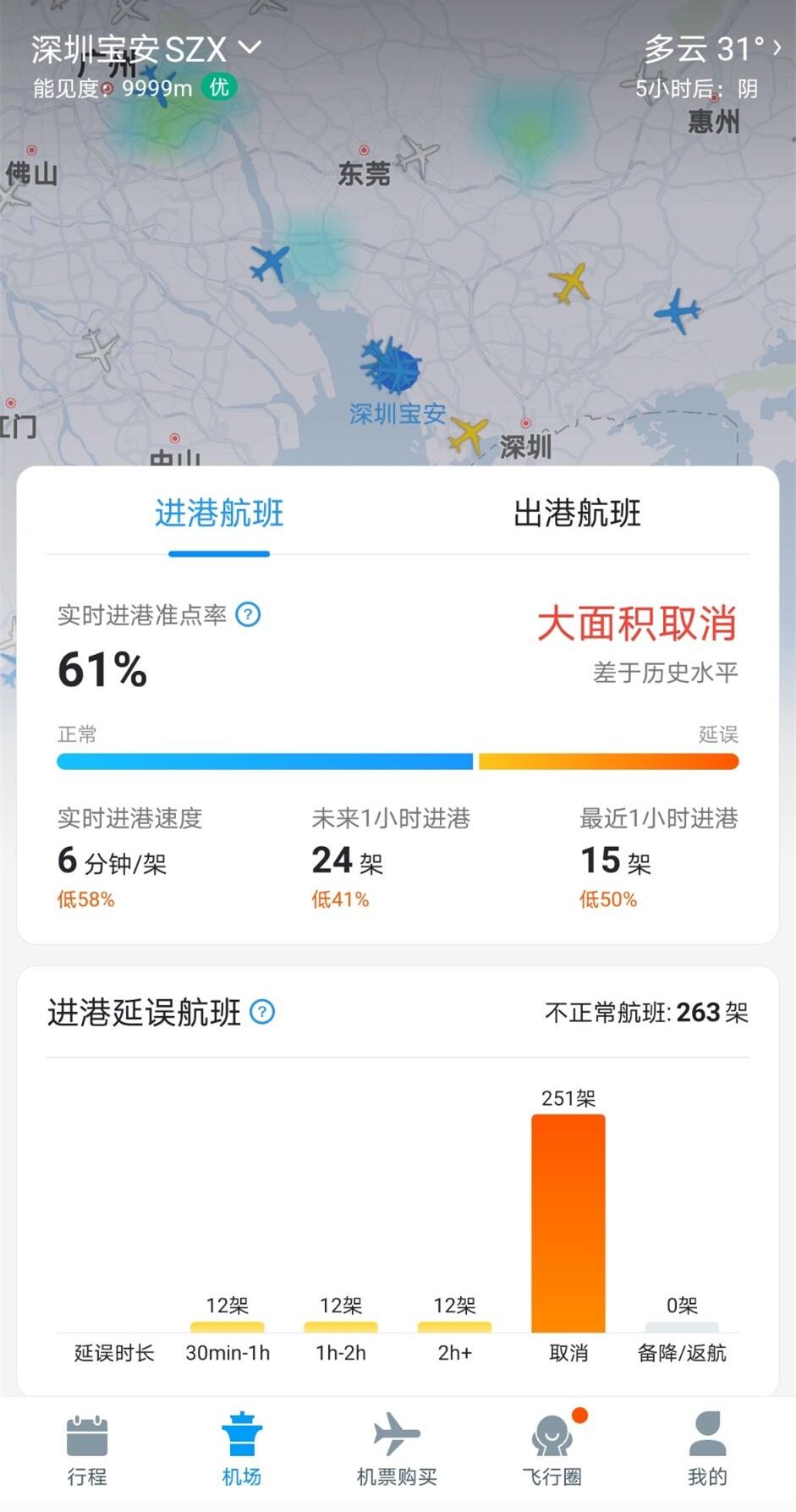 深圳机场航班大面积取消