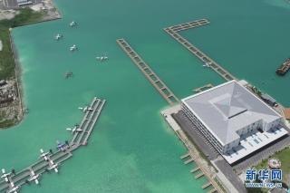6月30日在马累用无人机拍摄的马尔代夫维拉纳国际机场水上飞机航站楼项目。(北京城建集团供图)