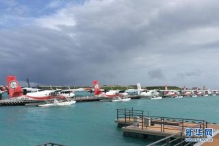 7月19日在马累拍摄的马尔代夫维拉纳国际机场水上飞机航站楼项目。 (北京城建集团供图)
