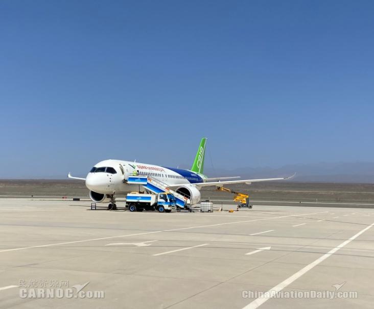 国产大飞机C919赴吐鲁番机场开展专项试飞任务