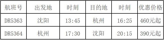 瑞麗航空新開沈陽=杭州航線